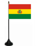 Bolivia Desk / Table Flag with plastic stand and base.
